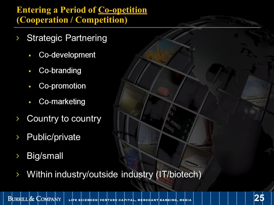25 Entering a Period of Co-opetition (Cooperation / Competition) Strategic Partnering  Co-development  Co-branding  Co-promotion  Co-marketing Country to country Public/private Big/small Within industry/outside industry (IT/biotech)