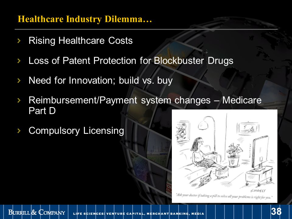 38 Healthcare Industry Dilemma… Rising Healthcare Costs Loss of Patent Protection for Blockbuster Drugs Need for Innovation; build vs.