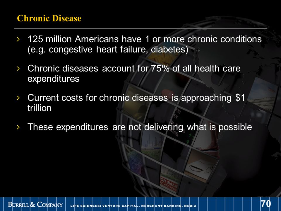 70 Chronic Disease 125 million Americans have 1 or more chronic conditions (e.g.