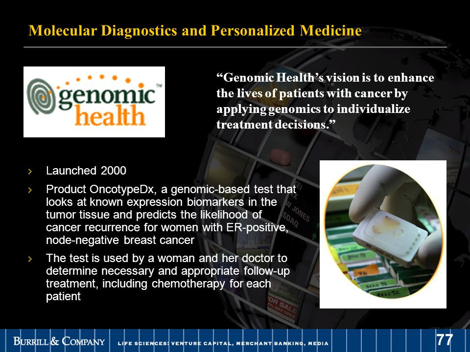 77 Genomic Health's vision is to enhance the lives of patients with cancer by applying genomics to individualize treatment decisions. Launched 2000 Product OncotypeDx, a genomic-based test that looks at known expression biomarkers in the tumor tissue and predicts the likelihood of cancer recurrence for women with ER-positive, node-negative breast cancer The test is used by a woman and her doctor to determine necessary and appropriate follow-up treatment, including chemotherapy for each patient Molecular Diagnostics and Personalized Medicine