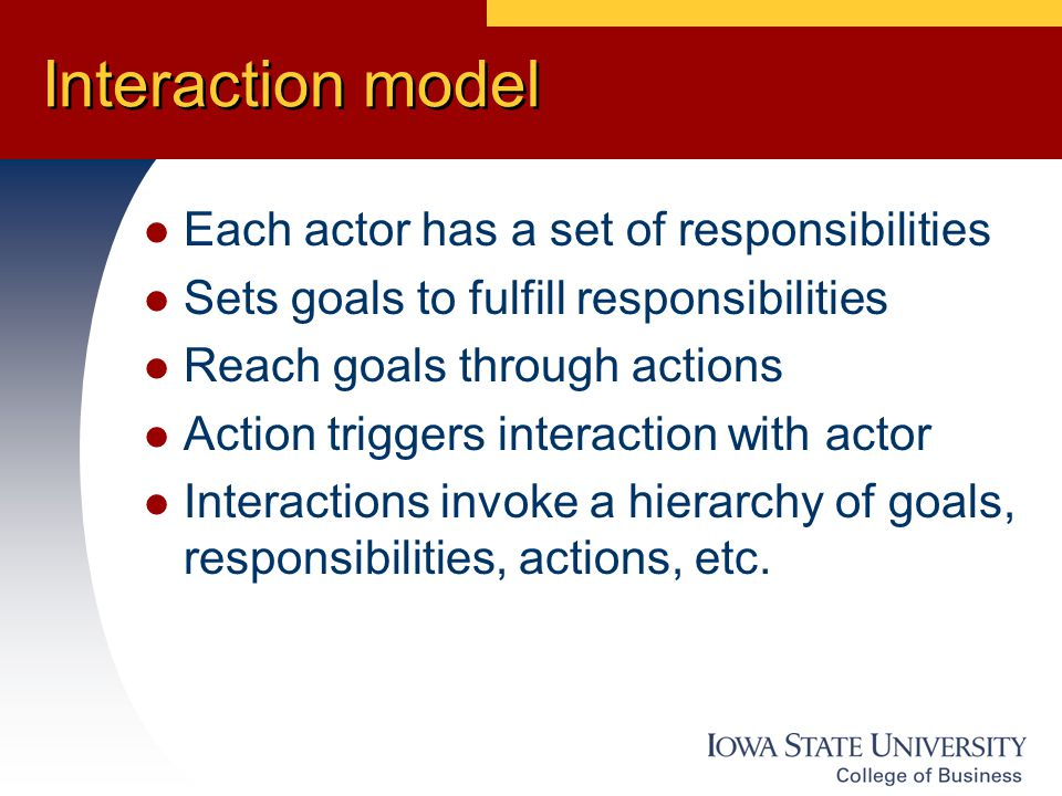 Interaction model Each actor has a set of responsibilities Sets goals to fulfill responsibilities Reach goals through actions Action triggers interaction with actor Interactions invoke a hierarchy of goals, responsibilities, actions, etc.