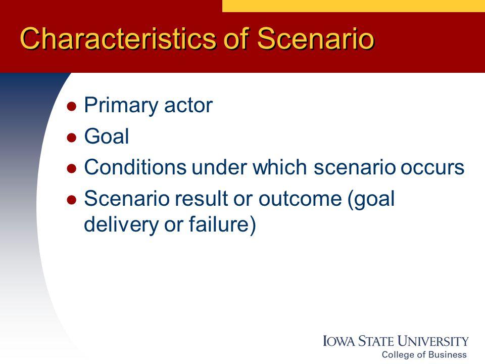 Characteristics of Scenario Primary actor Goal Conditions under which scenario occurs Scenario result or outcome (goal delivery or failure)
