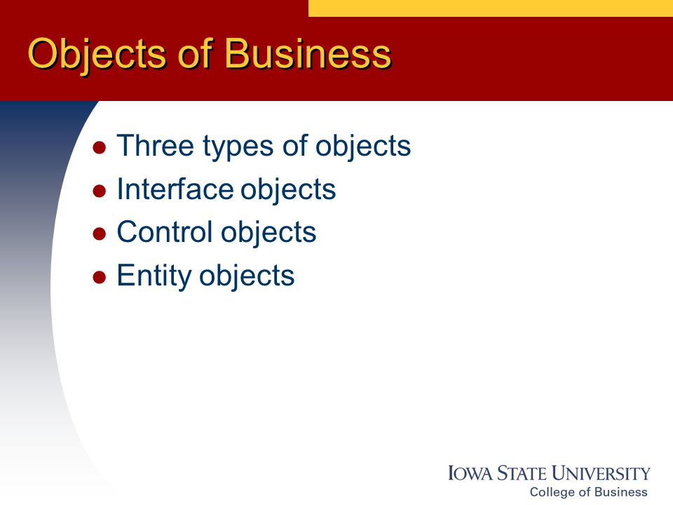Objects of Business Three types of objects Interface objects Control objects Entity objects