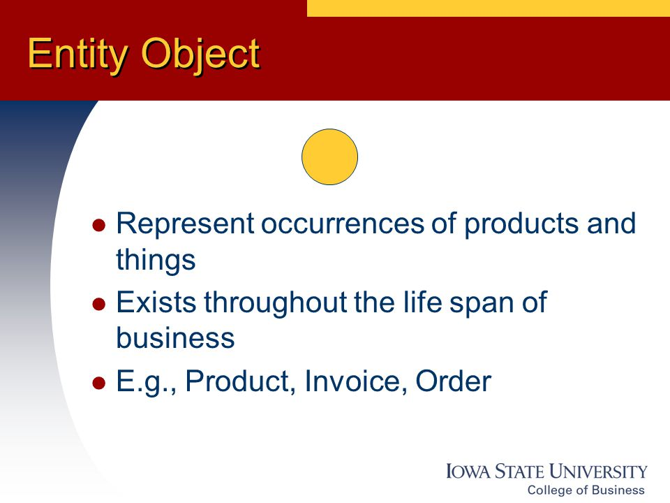 Entity Object Represent occurrences of products and things Exists throughout the life span of business E.g., Product, Invoice, Order