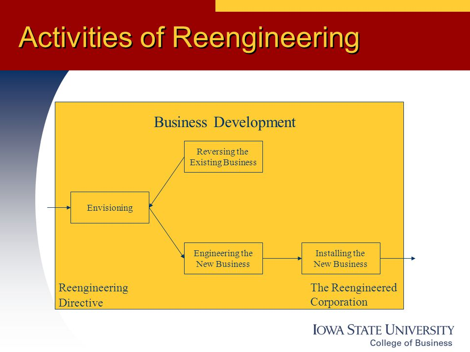 Activities of Reengineering Envisioning Reversing the Existing Business Engineering the New Business Installing the New Business Business Development Reengineering Directive The Reengineered Corporation