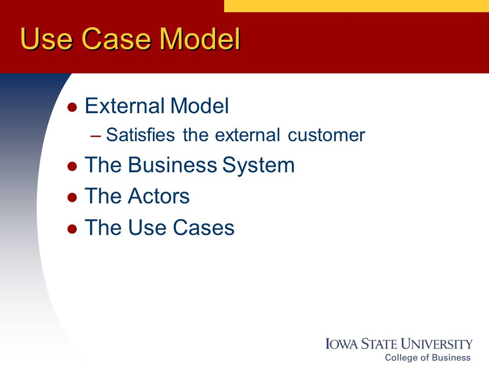 Use Case Model External Model –Satisfies the external customer The Business System The Actors The Use Cases