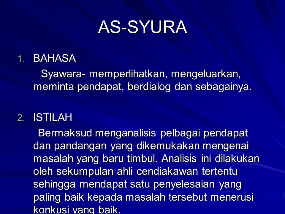AS-SYURA 1. BAHASA Syawara- memperlihatkan, mengeluarkan, meminta pendapat, berdialog dan sebagainya. Syawara- memperlihatkan, mengeluarkan, meminta p