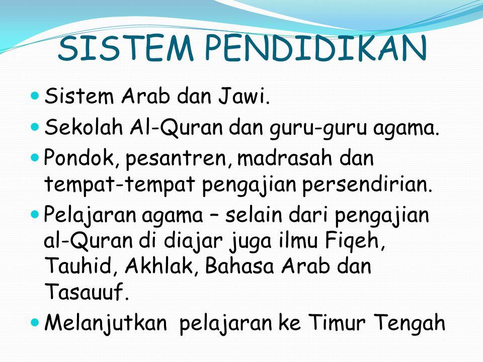 SISTEM PENDIDIKAN Sistem Arab dan Jawi.Sekolah Al-Quran dan guru-guru agama.