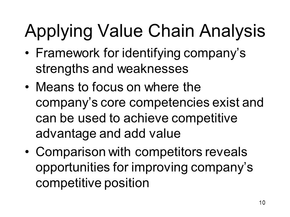 10 Applying Value Chain Analysis Framework for identifying company's strengths and weaknesses Means to focus on where the company's core competencies