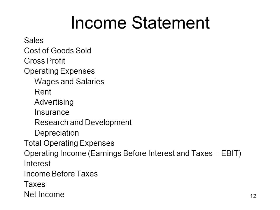 12 Income Statement Sales Cost of Goods Sold Gross Profit Operating Expenses Wages and Salaries Rent Advertising Insurance Research and Development De