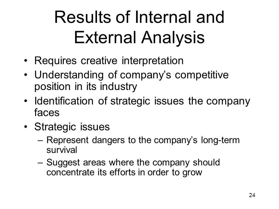 24 Results of Internal and External Analysis Requires creative interpretation Understanding of company's competitive position in its industry Identifi
