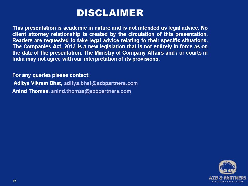 DISCLAIMER This presentation is academic in nature and is not intended as legal advice.