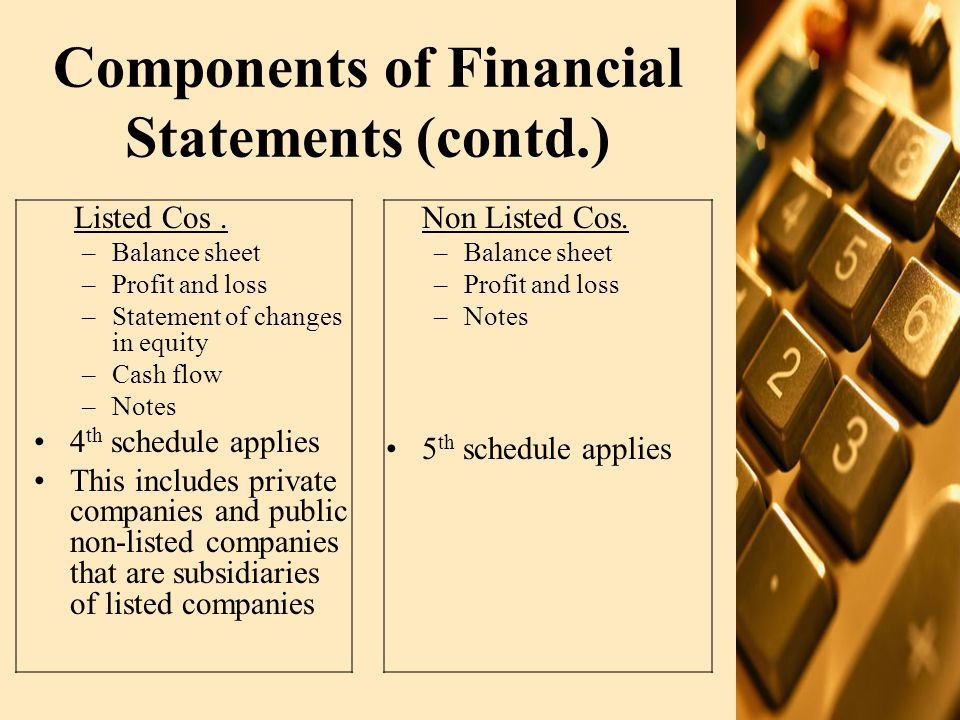 Components of Financial Statements (contd.) Listed Cos. –Balance sheet –Profit and loss –Statement of changes in equity –Cash flow –Notes 4 th schedul