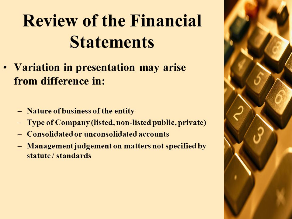 Review of the Financial Statements Variation in presentation may arise from difference in: –Nature of business of the entity –Type of Company (listed, non-listed public, private) –Consolidated or unconsolidated accounts –Management judgement on matters not specified by statute / standards