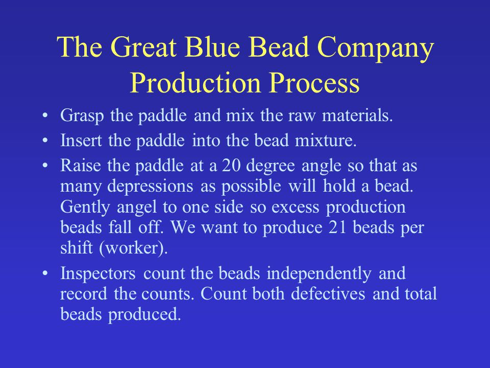 The Great Blue Bead Company Production Process Grasp the paddle and mix the raw materials.