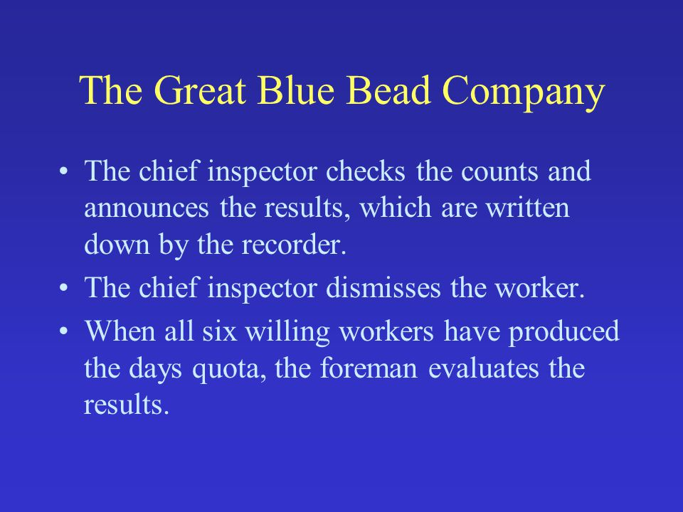 The Great Blue Bead Company The chief inspector checks the counts and announces the results, which are written down by the recorder.
