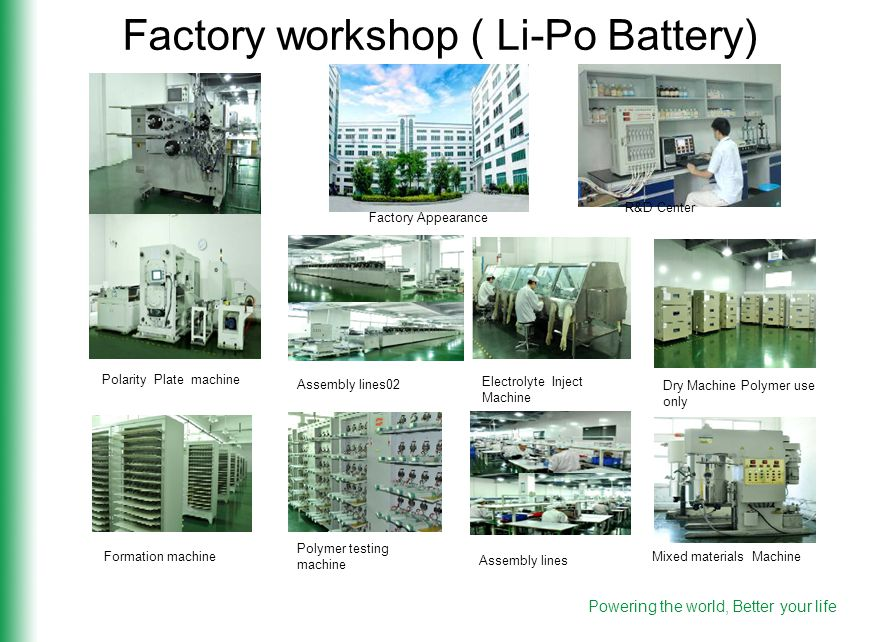Factory workshop ( Li-Po Battery) R&D Center Factory Appearance Dry Machine Polymer use only Electrolyte Inject Machine Assembly lines02 Formation machine Polymer testing machine Assembly lines Mixed materials Machine Polarity Plate machine Powering the world, Better your life