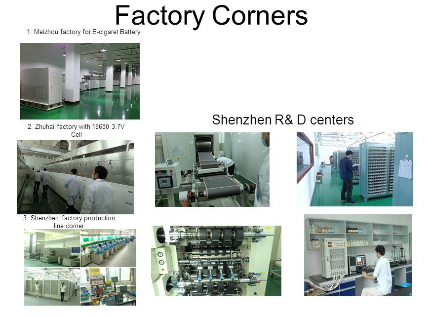 Factory Corners 1. Meizhou factory for E-cigaret Battery 2. Zhuhai factory with 18650 3.7V Cell 3. Shenzhen factory production line corner Shenzhen R&