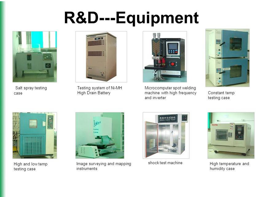 R&D---Equipment shock test machine Microcomputer spot welding machine with high frequency and inverter Salt spray testing case Constant temp testing case High and low temp testing case Image surveying and mapping instruments High temperature and humidity case Testing system of Ni-MH High Drain Battery