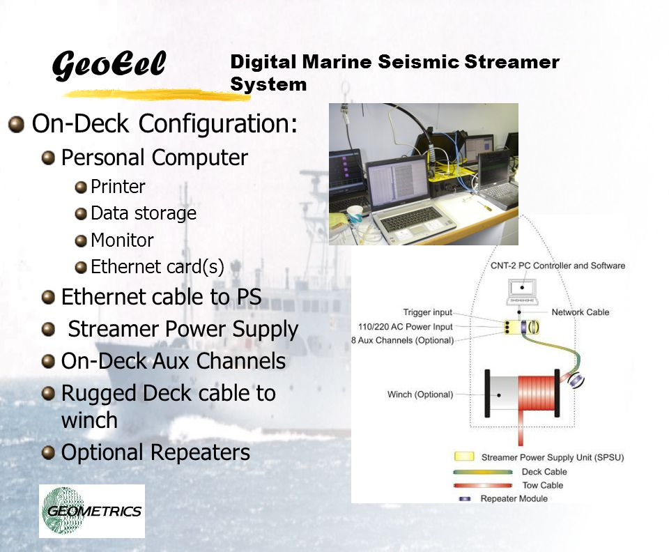 GeoEel On-Deck Configuration: Personal Computer Printer Data storage Monitor Ethernet card(s) Ethernet cable to PS Streamer Power Supply On-Deck Aux C