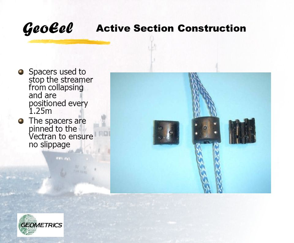 GeoEel Active Section Construction Spacers used to stop the streamer from collapsing and are positioned every 1.25m The spacers are pinned to the Vect