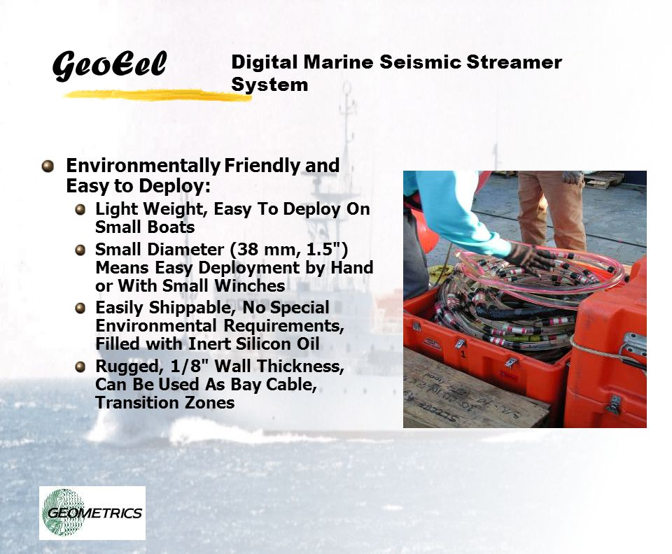 GeoEel Visual and audiable alarms can be operator selected
