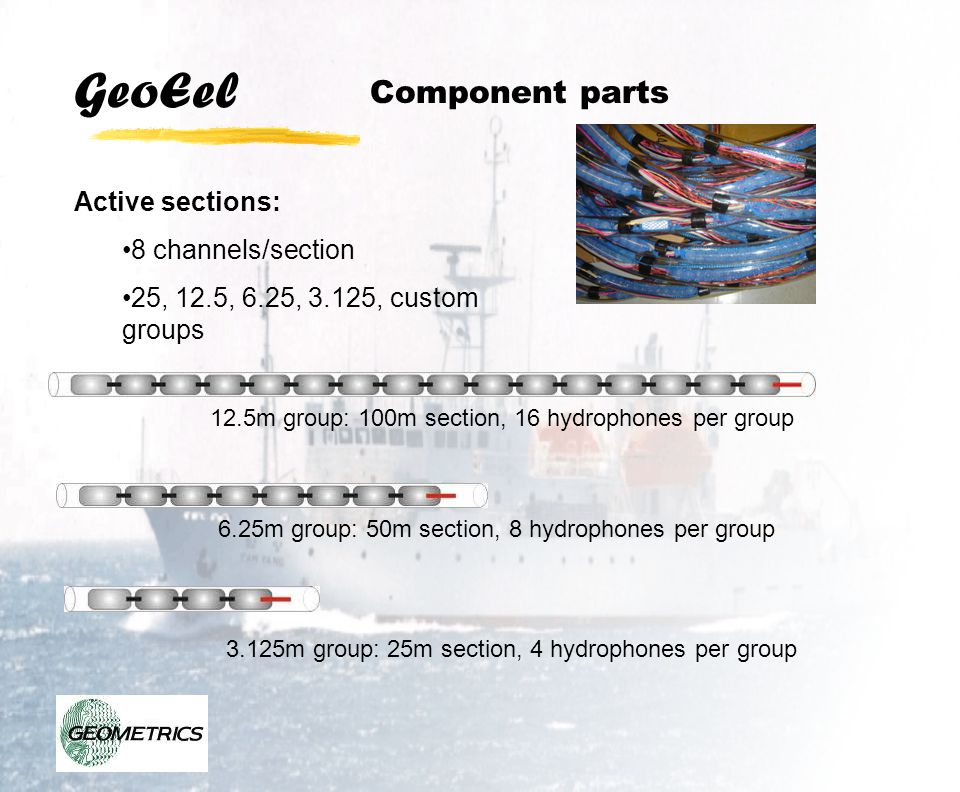 GeoEel Detailed Specifications: Digital Marine Seismic Streamer System Hydrophone Array: Active Section: Number of Channels: 8 maximum per section Number of Sections: Dependent on array, 12 sections for 96 channel Hydrophones per group: User option, 16 typical at 12.5m Hydrophone Type: Benthos RDA Geopoint Depth sensor (optional): ± 2.5 percent accuracy, 0-50 meters Jacket Material: Clear polyurethane, 70 Duro, 3.18mm (1/8 ) wall thickness Outer Diameter: 38 mm (1.5 inches) Ballast Fluid: Inert, non-polluting silicon oil, 100 cSt Weight: ~1.2 kg/m Break Strength: 1250 kg (2750 lbs) Maximum Tow Speed: ~8 knots recording, ~10 knots steaming, depending on sea state Winch Drum Minimum Diameter: 1.5m