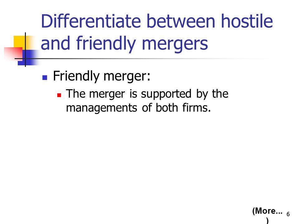 7 Hostile merger: Target firm's management resists the merger.