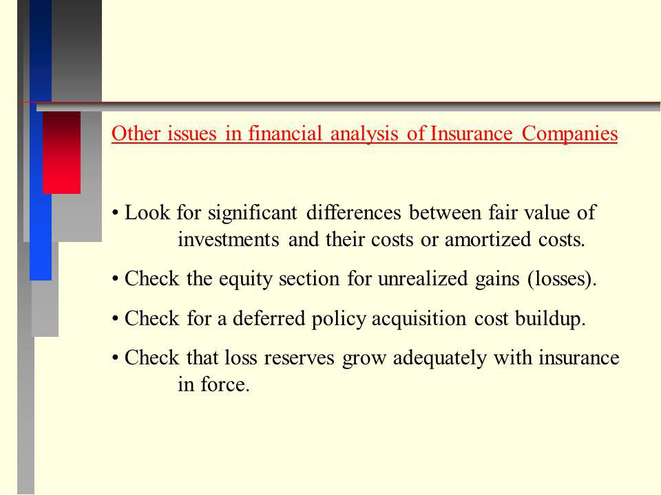 Other issues in financial analysis of Insurance Companies Look for significant differences between fair value of investments and their costs or amorti