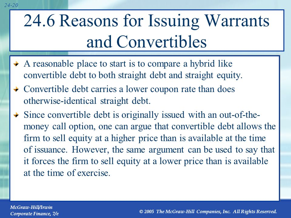 McGraw-Hill/Irwin Corporate Finance, 7/e © 2005 The McGraw-Hill Companies, Inc. All Rights Reserved. 24-20 24.6 Reasons for Issuing Warrants and Conve