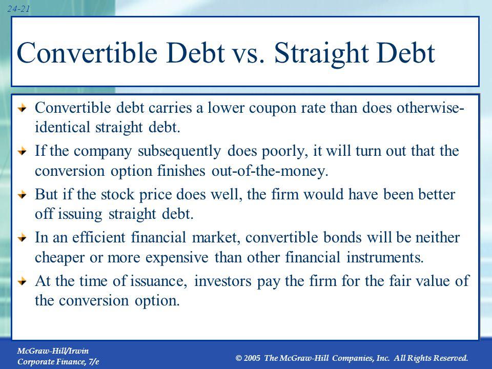 McGraw-Hill/Irwin Corporate Finance, 7/e © 2005 The McGraw-Hill Companies, Inc. All Rights Reserved. 24-21 Convertible Debt vs. Straight Debt Converti