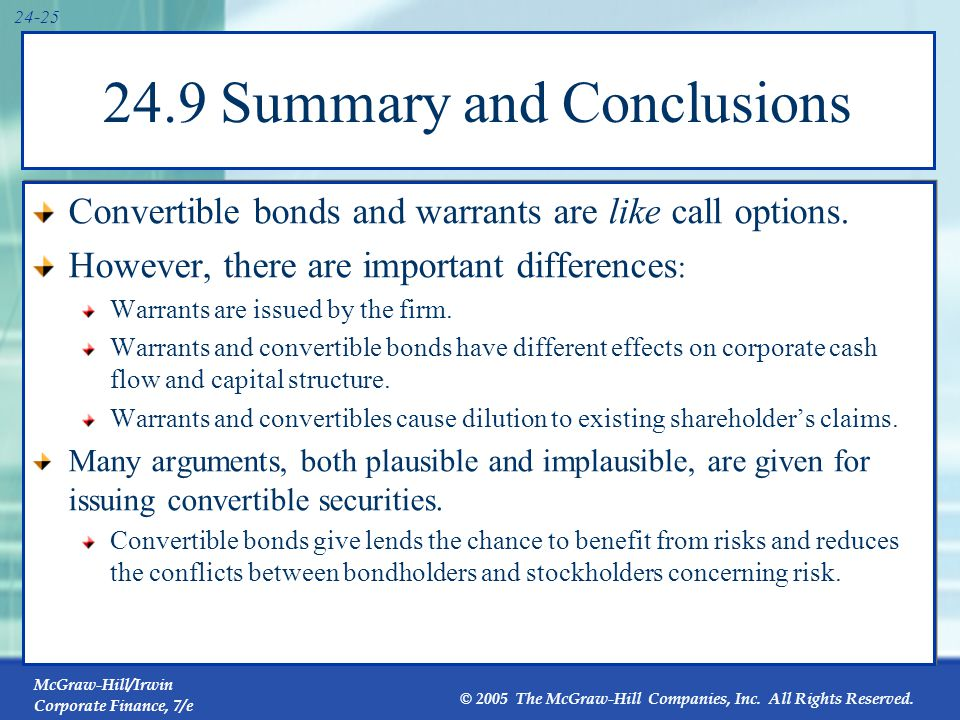 McGraw-Hill/Irwin Corporate Finance, 7/e © 2005 The McGraw-Hill Companies, Inc. All Rights Reserved. 24-25 24.9 Summary and Conclusions Convertible bo