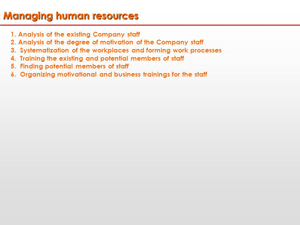 Managing human resources 1. Analysis of the existing Company staff 2.