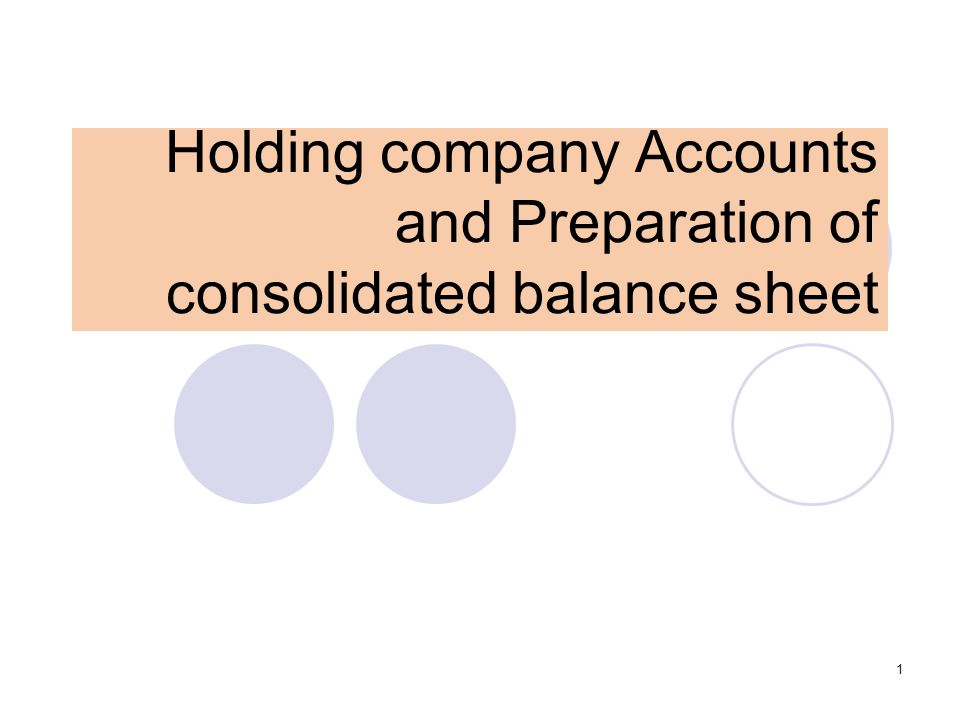 1 Holding company Accounts and Preparation of consolidated balance sheet