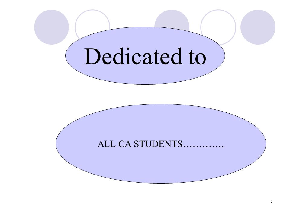 2 Dedicated to ALL CA STUDENTS………….