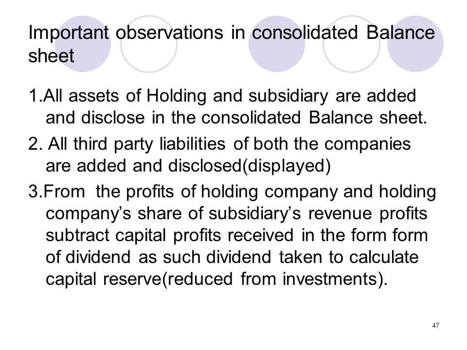 47 Important observations in consolidated Balance sheet 1.All assets of Holding and subsidiary are added and disclose in the consolidated Balance sheet.