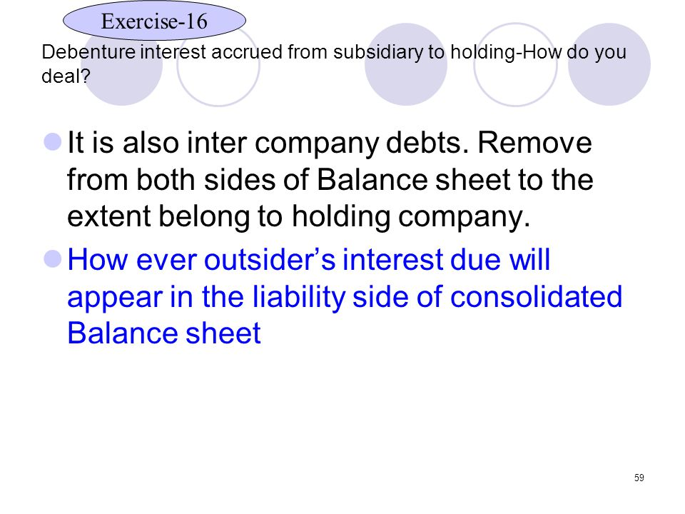59 Debenture interest accrued from subsidiary to holding-How do you deal.
