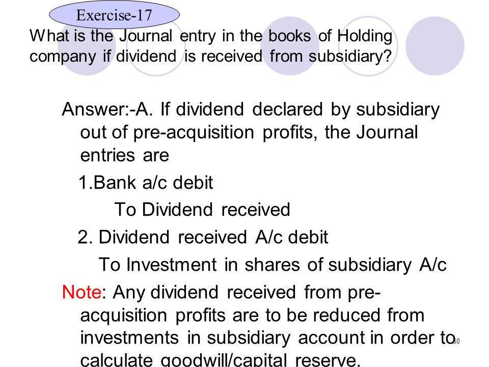 60 What is the Journal entry in the books of Holding company if dividend is received from subsidiary.