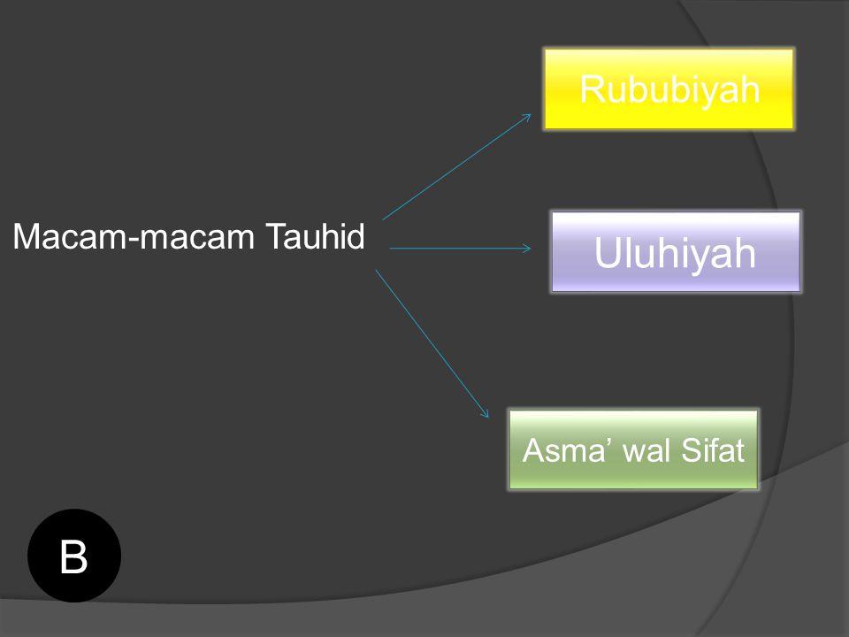 Macam-macam Tauhid Rububiyah Uluhiyah Asma' wal Sifat B
