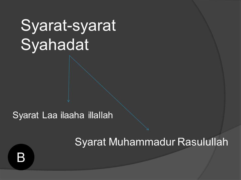 Syarat-syarat Syahadat Syarat Laa ilaaha illallah Syarat Muhammadur Rasulullah B