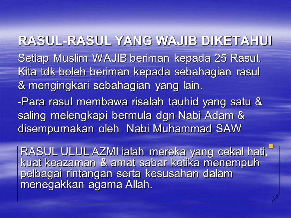RASUL-RASUL YANG WAJIB DIKETAHUI Setiap Muslim WAJIB beriman kepada 25 Rasul. Kita tdk boleh beriman kepada sebahagian rasul & mengingkari sebahagian