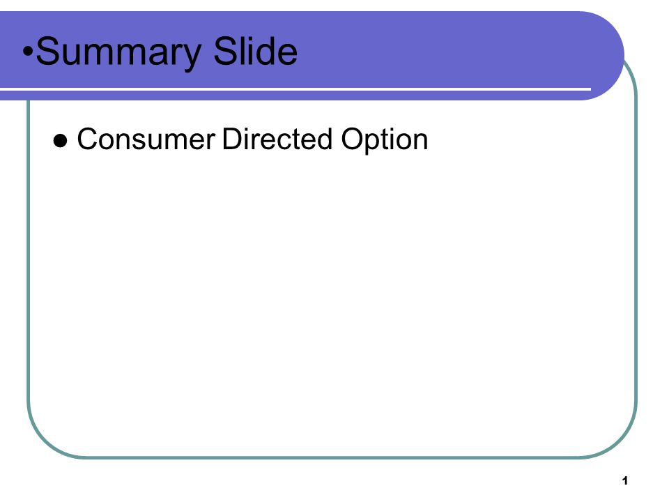 1 Summary Slide Consumer Directed Option