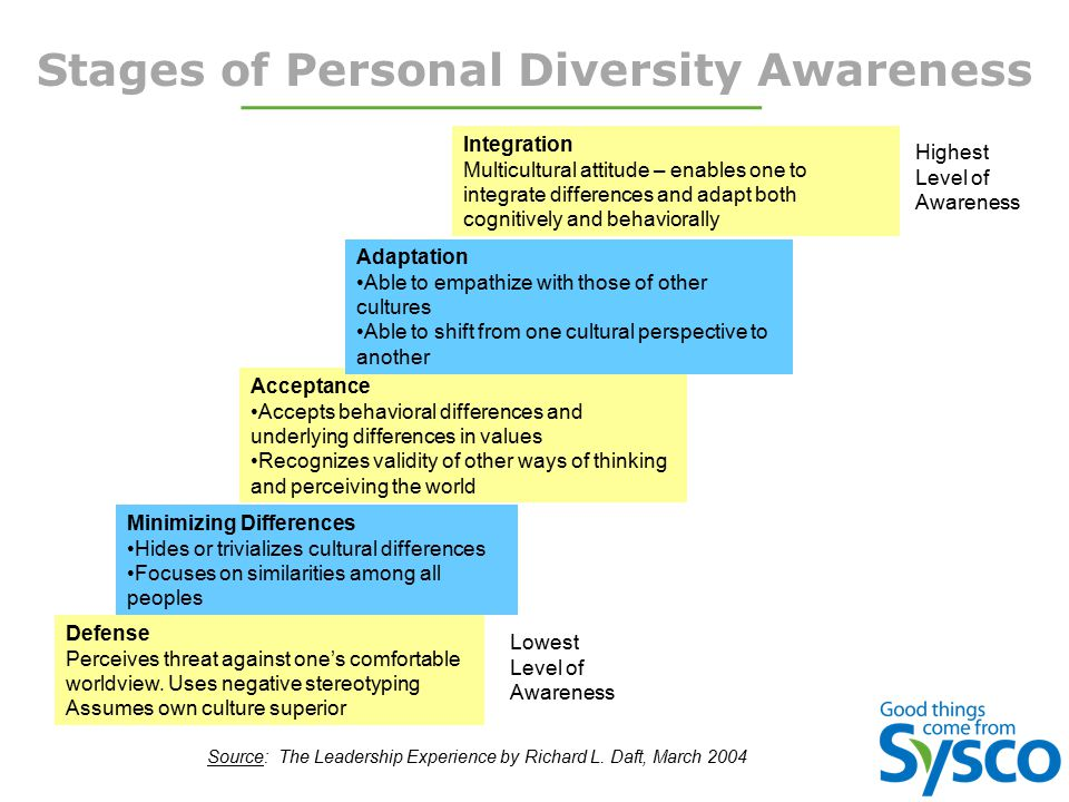Stages of Personal Diversity Awareness Defense Perceives threat against one's comfortable worldview. Uses negative stereotyping Assumes own culture su