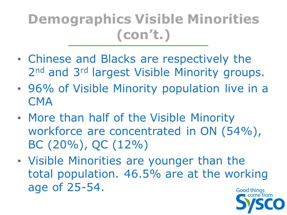 Demographics Visible Minorities (con't.) Chinese and Blacks are respectively the 2 nd and 3 rd largest Visible Minority groups.