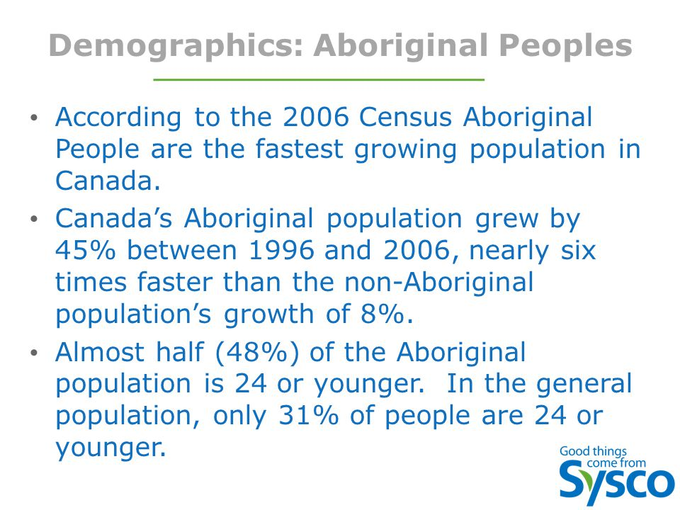 Demographics: Aboriginal Peoples According to the 2006 Census Aboriginal People are the fastest growing population in Canada.