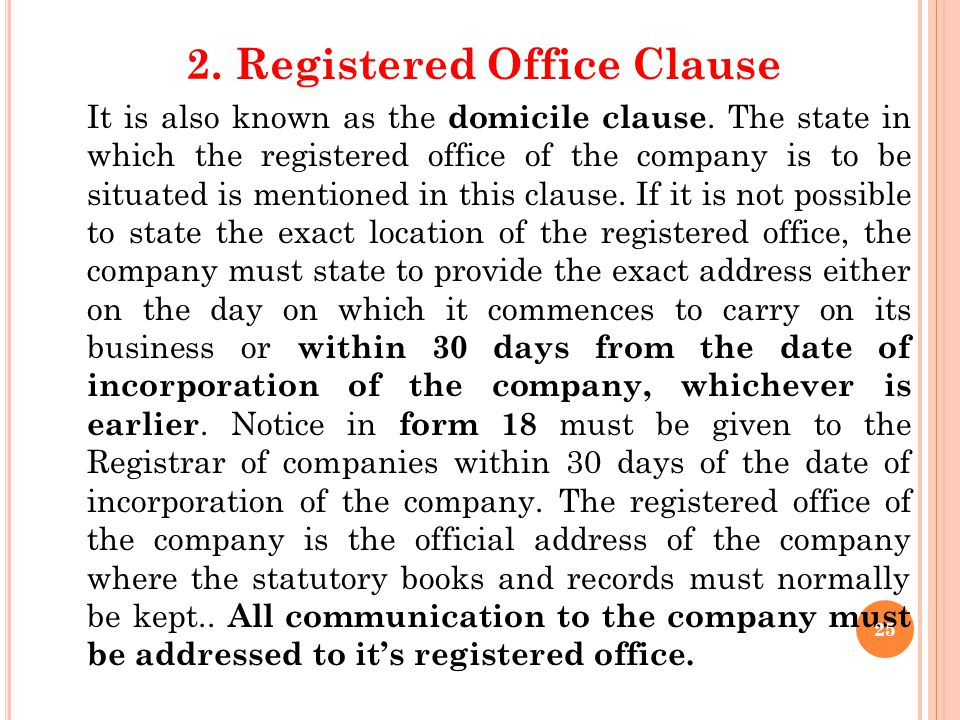 Publication of Name by Company (Section 147) Every company is required to paint or affix its name and the address of its registered office, outside ev