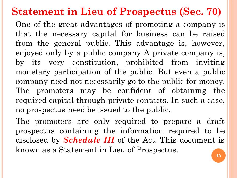 Prospectus According to Section 2(36), a prospectus means any document described or issued as prospectus and includes any notice, circular, advertisem