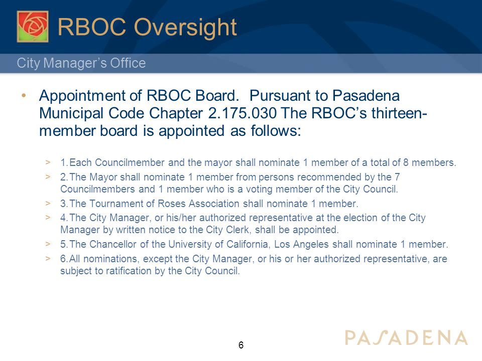City Manager's Office RBOC Oversight Appointment of RBOC Board.