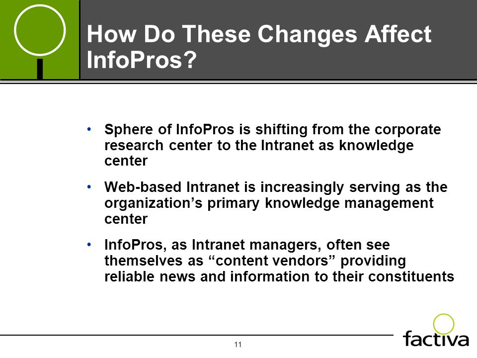 11 How Do These Changes Affect InfoPros? Sphere of InfoPros is shifting from the corporate research center to the Intranet as knowledge center Web-bas