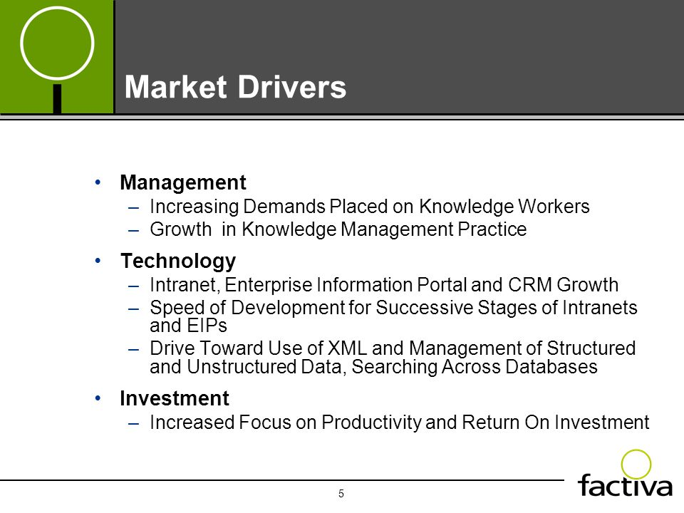 5 Market Drivers Management –Increasing Demands Placed on Knowledge Workers –Growth in Knowledge Management Practice Technology –Intranet, Enterprise